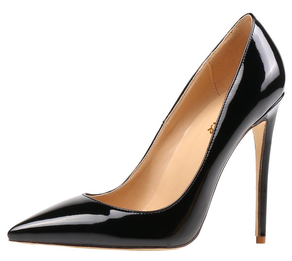AOOAR AP09N - Zapatos de Vestir de Sintético para Mujer 36 EU|Schwarz/Lackleder