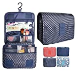 Portable Waterproof Travel Makeup Bag - Lady Color Foldable Organizer Travel Cosmetic Toiletry Bathroom Beach Bag for Women / Men, Shaving Kit with Hanging Hook for vacation (Navy Star)