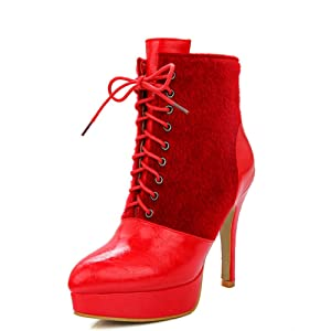 Fashion Heel Women's Stiletto Heel Pointed Toe Platform Lace Up Ankle Bootie (7.5, red)