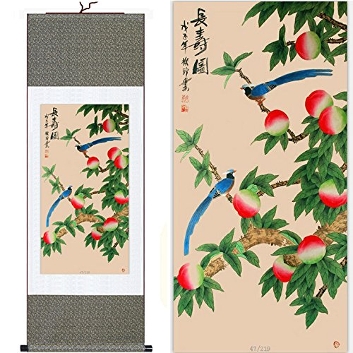 MODEBESO(TM) Silk Chinese Painting peach & bird Home Decorate Calligraphy Scroll Hanging Art Gift (H55
