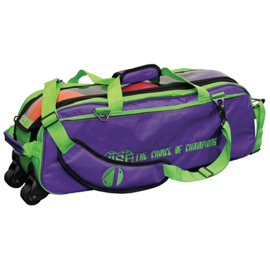 Vise Clear Top 3 Ball Roller Bowling Bag- Grape/Green by Vise Bowling Grips