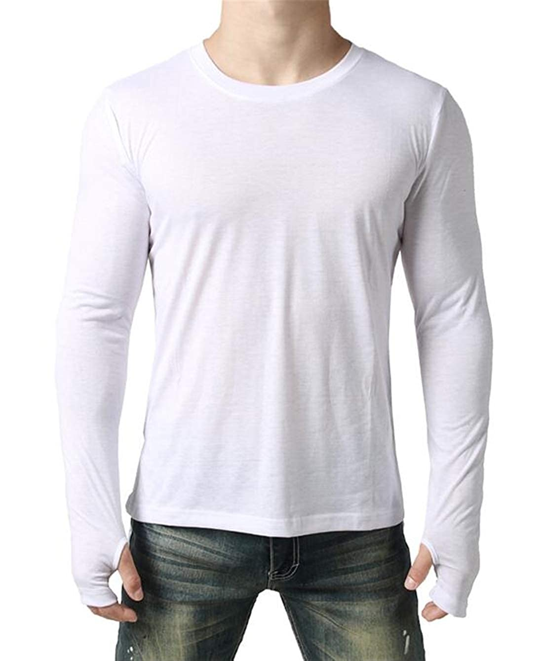 S-Fly Men Slim Fit Hip-hop Thumb Hole Cuff Round Neck Casual Plain Asymmetrical Hem Tee Top T-Shirts