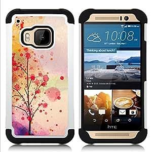 """Pulsar ( Hojas de otoño Árbol romántico"""" ) HTC One M9 /M9s / One Hima híbrida Heavy Duty Impact pesado deber de protección a los choques caso Carcasa de parachoques [Ne"""