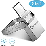 USB C Flash Drive, EIVOTOR Memory Stick 128GB OTG USB 3.0+Type C Waterproof Thumb Drive, Dual Drive USB Stick with…