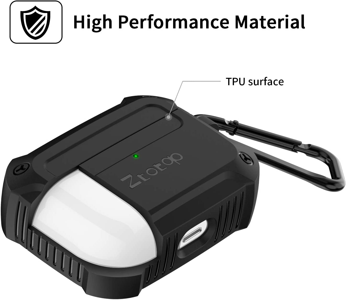 Black Front LED Visible Durable Armor Case with Smooth Skin Ztotop Case for AirPods Pro 2019 Designed with Full Tough Silicone+Shock+Resistant Protective Cover