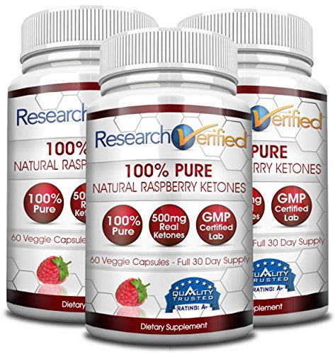 Research Verified Raspberry Ketones - 180 Capsules (Three Month Supply) - 100% Pure Natural Raspberry Ketones -1000mg/day- 365 Day 100% Money Back Guarantee-Try Risk Free for Fast and Easy Weight Loss by Research Verified