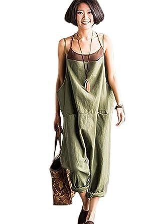 e00597b6a02 Amazon.com  Womens Overalls Linen Cotton Pants Women one Piece ...