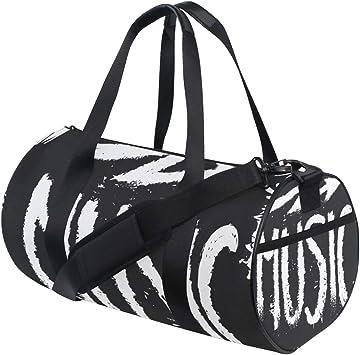 Travel Duffels Black Music Duffle Bag Luggage Sports Gym for Women /& Men