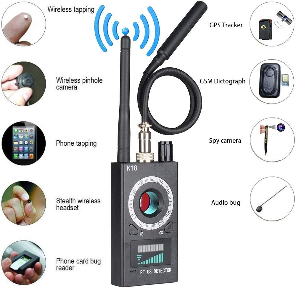 Anti Spy RF Detector /& Camera Detector GSM Listening Device Finder Radar Radio Scanner Wireless Signal Alarm Upgraded RF Signal Detector Bug Detector