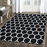Superior Honeycomb Wool Rug, 100% Wool Pile with Cotton Backing, Hand Tufted Luxury Rug, Contemporary Geometric Trellis Pattern - Black & Silver, 5' x 8'