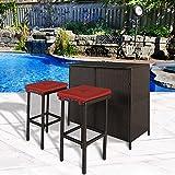 Cloud Mountain 3 PC Patio Bar Set Outdoor Garden Backyard Rattan Bar Table 2 Stools Barstool Furniture Set, Brick Red Cushion