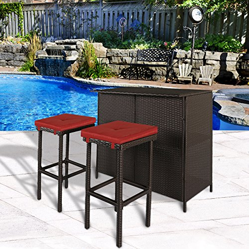 Cloud Mountain 3 PC Patio Bar Set Outdoor Garden Backyard Rattan Bar Table 2 Stools Barstool Furniture Set, Brick Red Cushion (Table Chairs Two In With Middle)