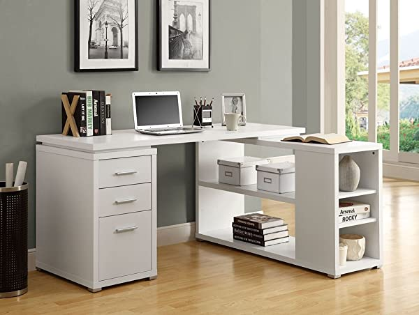 Monarch Specialities White Desk With File Drawer