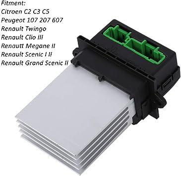 Corazón Caballo Calentador Soplador Resistencia Reemplazo del ventilador del motor Compatible con Peugeot 107 207 607 Citroen C2 C3 C5 Renault Scenic Megane Twingo 6441L2 7701207718 7701048390: Amazon.es: Coche y moto