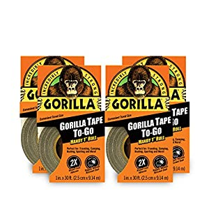 "Gorilla Tape, Mini Duct Tape To-Go, 1"" x 10 yd Travel Size, Black, (Pack of 4)"