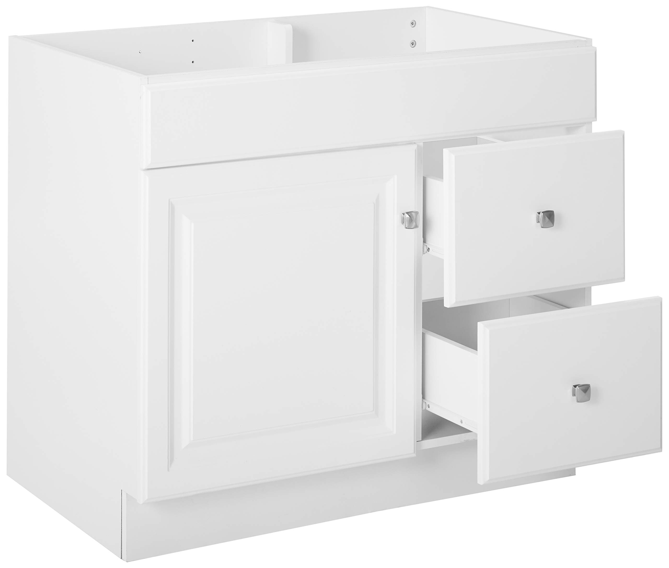 """Design House 531954 Wyndham Ready-To-Assemble 1 Door/2 Drawer Vanity, White, 36""""W x 31.5""""T 21""""D, Cabinet Only - Cabinet only. Top sold separate. 2-drawer construction gives you plenty of storage for toiletries Measures 36-inches wide by 31.5-inches tall by 21-inches deep - bathroom-vanities, bathroom-fixtures-hardware, bathroom - 61KVlheuiIL -"""