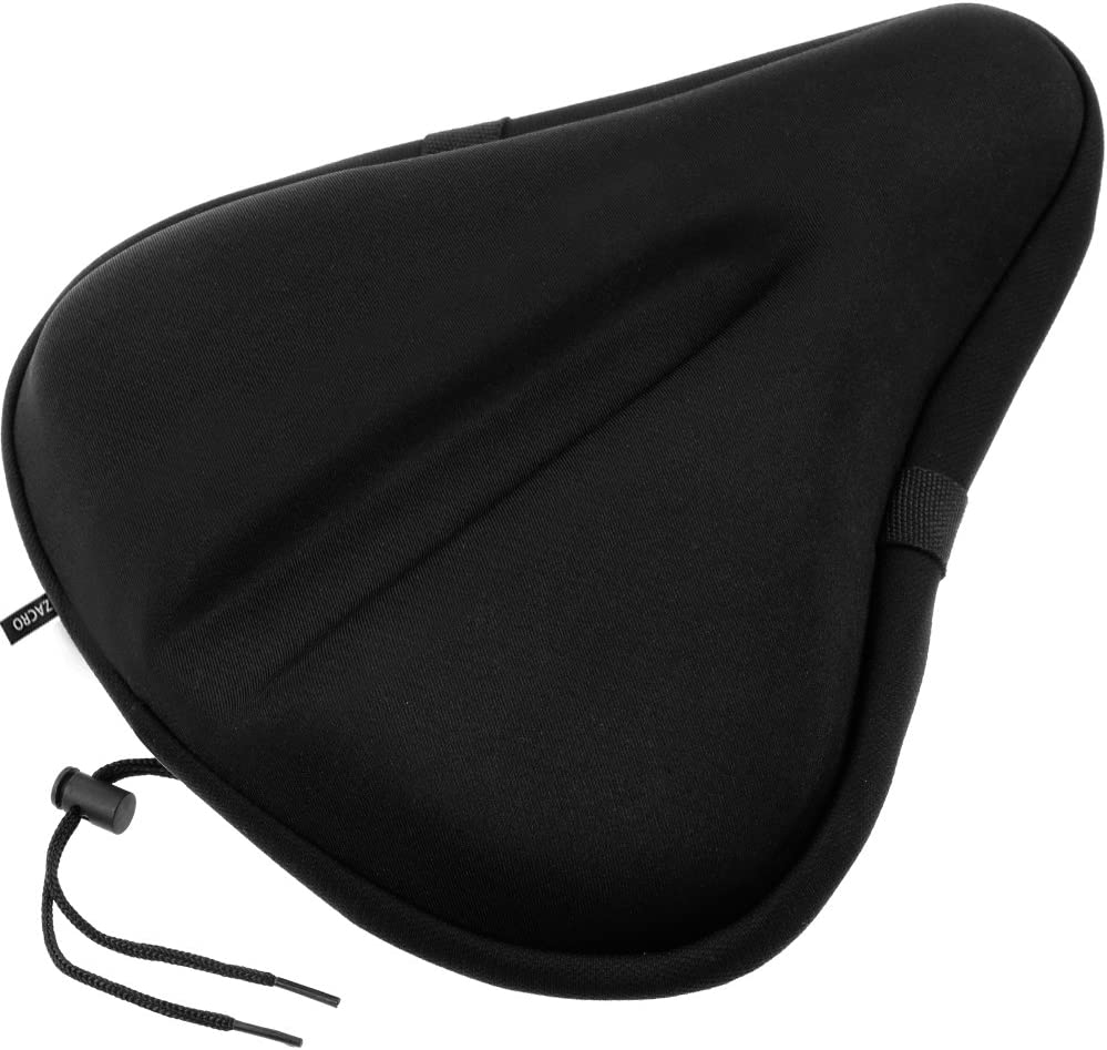 Zacro Gel Bike Seat, Big Size Soft Wide Excercise Bicycle Cushion for Bike Saddle, Comfortable Cover Fits Cruiser and Stationary Bikes, Indoor Cycling