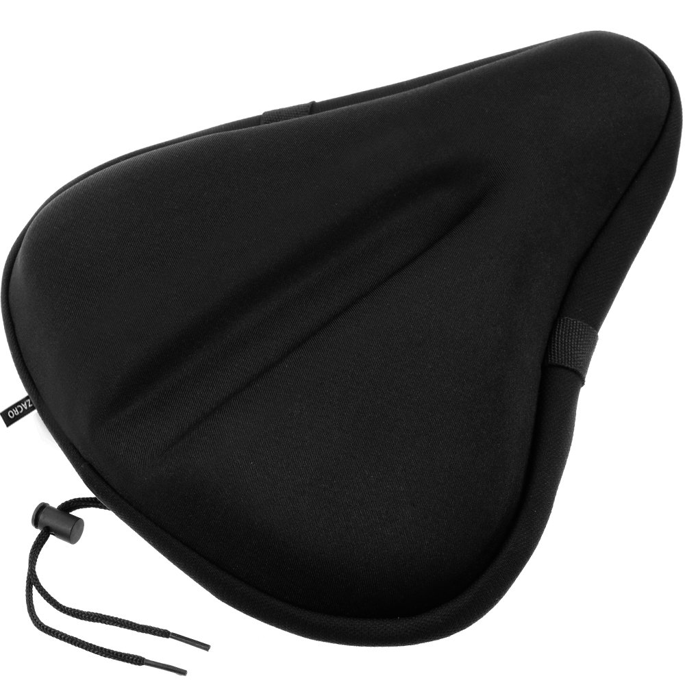 Zacro Gel Bike Seat, Big Size Soft Wide Excercise Bicycle Cushion For Bike Saddle, Comfortable Cover Fits Cruiser And Stationary Bikes, Indoor Cycling, Spinning With Waterpoof Cover by Zacro