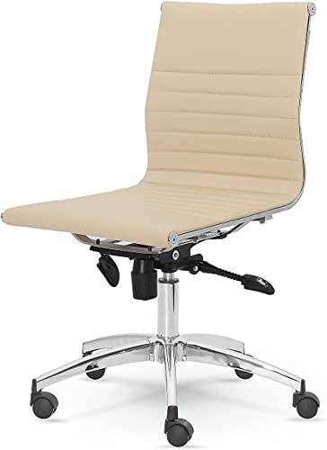 Winport Furniture Dynamic Mid-Back Armless Leather Swivel Office Home Desk Chair
