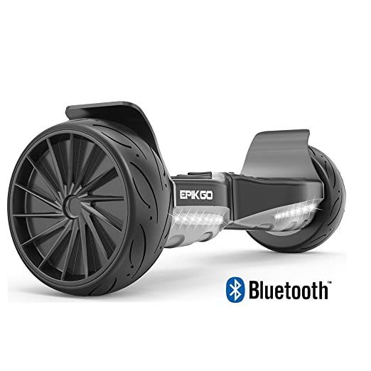 "EPIKGO Sport Plus Balance Board Self Balancing Electric Scooter [Bluetooth Speaker Enable] UL2272 Certified, All-Terrain 8.5"" Racing Wheel & Tires,LED Light,400W Dual Motor,LG Smart Battery- BT Black"