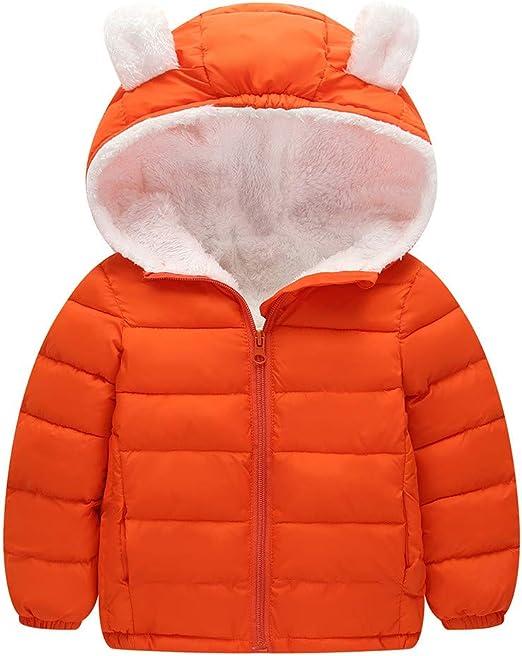Doudoune /à Capuche Manteau de B/éb/é de Mode Mamum Manteaux b/éb/é 12-18Mois Veste Chaude Hiver Enfant Gar/çon Fille Parka Blousons orange, 90