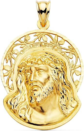 Pendentif 36mm 18K. tête Orla visage Calada du Christ sculpté détails