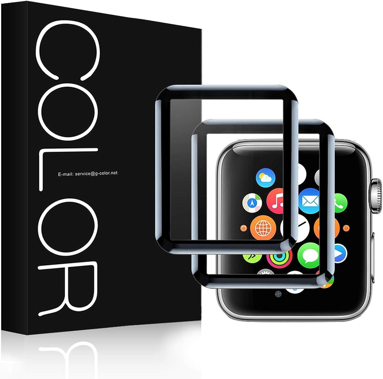 G-Color Apple Watch 42mm Protector de Pantalla, [2 Piezas], Cristal Templado, 3D Cobertura Completa, Serie 1 2 3, Protector Pantalla para Apple Watch 42mm Hermès/Nike+ Edition