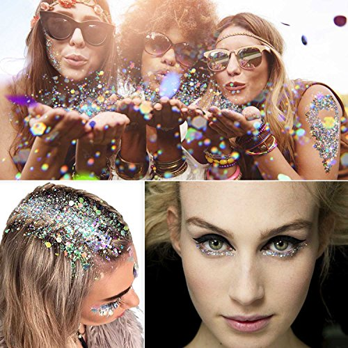 Sprinkle Of Glitter Halloween Costume (COKOHAPPY Large Laser Silver Ultra-thin Holographic Chunky Cosmetic Mix Glitter Jar (20 ml) Includes Long Lasting Eyelash Glue (7g) Holographic Rave Festival Face Body Hair Nails Shining)