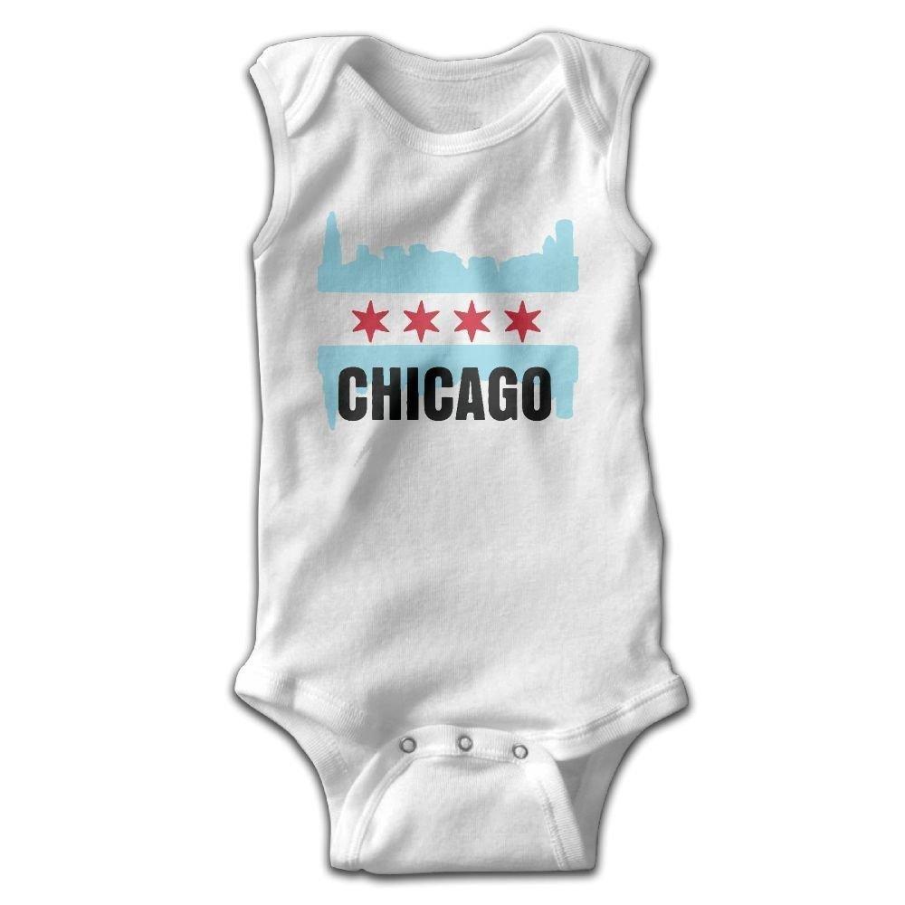 USA Chicago Flag Infant Baby Boys Girls Crawling Suit Sleeveless Onesie Romper Jumpsuit White