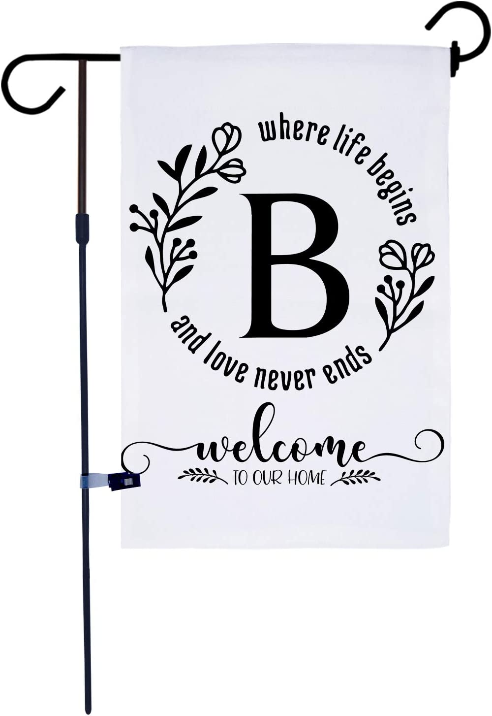 AKPOWER Small Garden Flag Vertical Double Sided 12 x 18 Inch Farmhouse Burlap Yard Outdoor Decor Classic Monogram Letter B