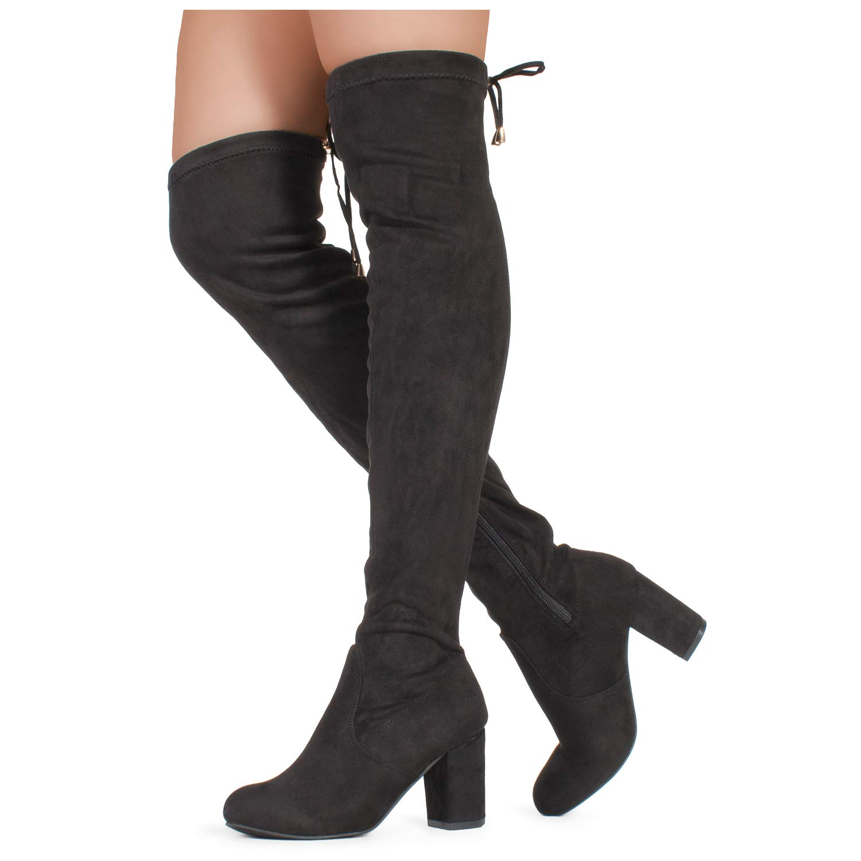 Black Suede - 3 Inch Heel ROF Women's Fashion Comfy Vegan Suede Block Heel Side Zipper Thigh High Over The Knee Boots