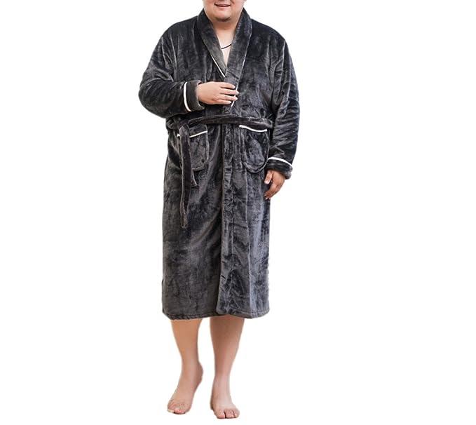 ZXCB Pijamas De Lujo De La Franela De Los Hombres Suave Cómodo Cálido Vestido De Baño