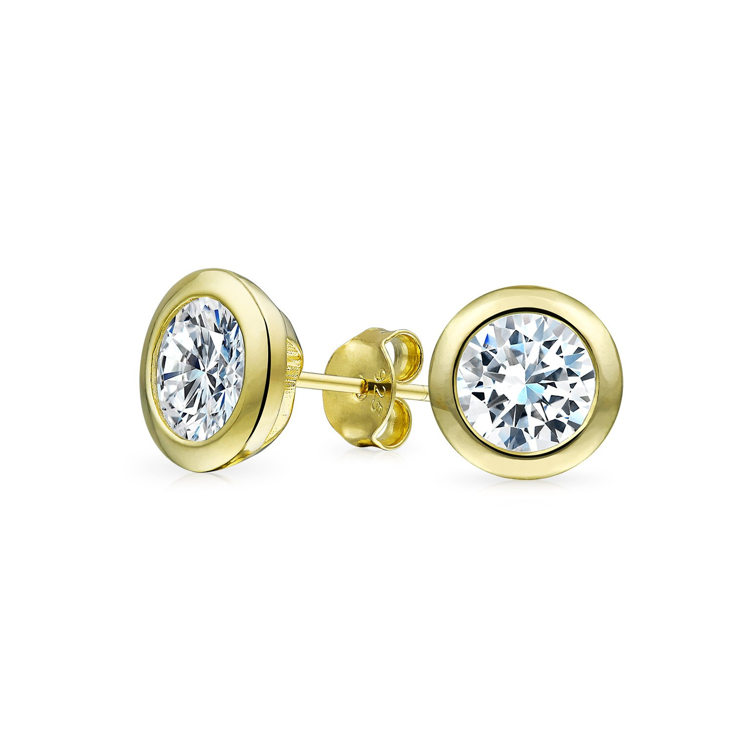Simulated Diamond 14K Gold Plated 925 Sterling Silver Yellow White or Rose Gold Hypoallergenic 4mm Round Cut AAA Solitaire Cubic Zirconia Leverback Earrings