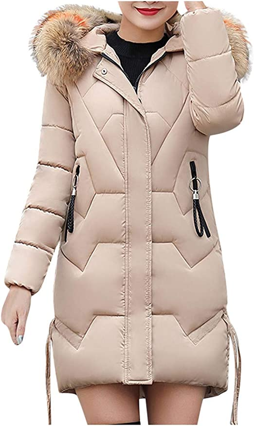 jieGorge🎄 Mujeres Niñas Chaqueta Larga Abrigo de algodón Parka ...