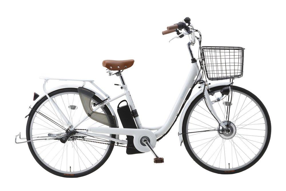 電動アシスト 26インチ 軽快車/自転車 ホワイト カゴLEDライトサークルキー付き B07D7L5N4Mホワイト