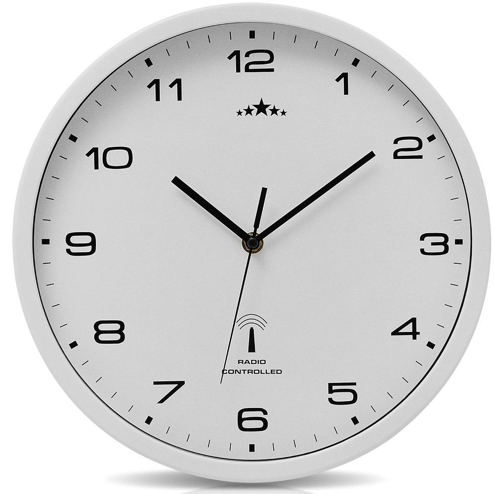 Orologio da parete bianco al quarzo automatico Orologio da muro radiocontrollato Analogico - Ø 31cm Deuba