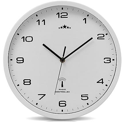Reloj de Pared Radiocontrolado Reloj de Cuarzo Analógico 31 cm Ajuste de Hora Automático - Blanco