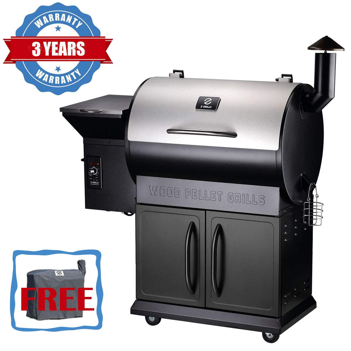 Z GRILLS Wood Pellet Grill 8-in-1 BBQ Smoker with Newest Updated Digital Control(Waterproof Cover Included) by Z GRILLS
