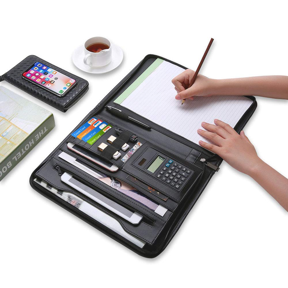 Uncle Martin Zippered Padfolio with Calculator, Black PU Leather Portfolio Organizer, Professional Interview Resume Business for Men Women, Interior 10.1 Inch Table Sleeve by Uncle Martin (Image #4)
