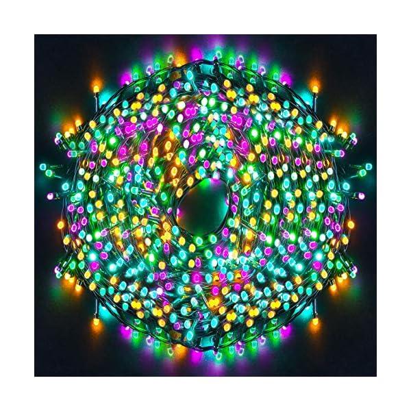 Ulinek 100M 1000LED Luci Natale Esterno Stringa Luci Natale Led Colorate 8Modalità Catena Luminosa Decorative IP44 Impermeabile per Albero Natale Giardino Interno Camere Letto Festa Decorazioni Casa 1 spesavip