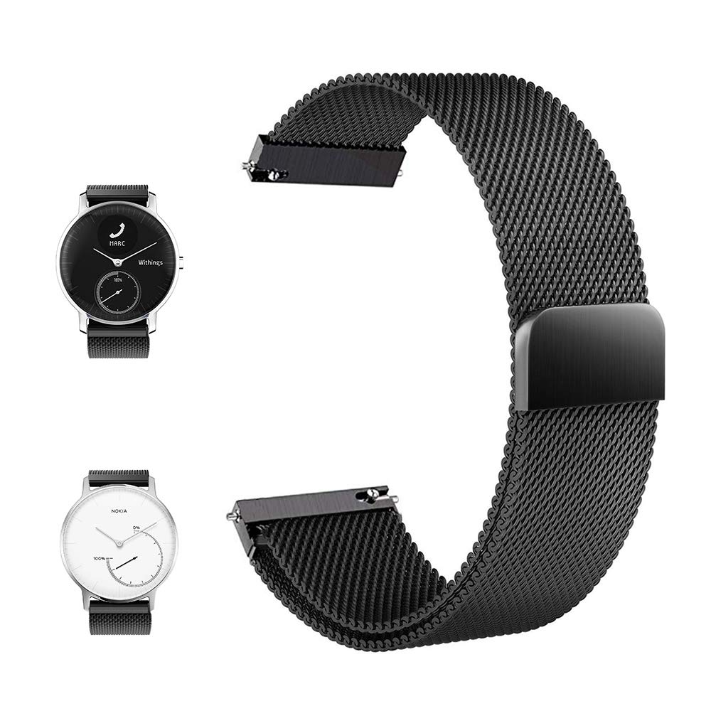 FRGNIE Compatible Withings/Nokia Steel HR Smartwatch (36mm) Band, Magnetic Closure Stainless Steel Watch Band Replacement Strap Compatible Withings ...