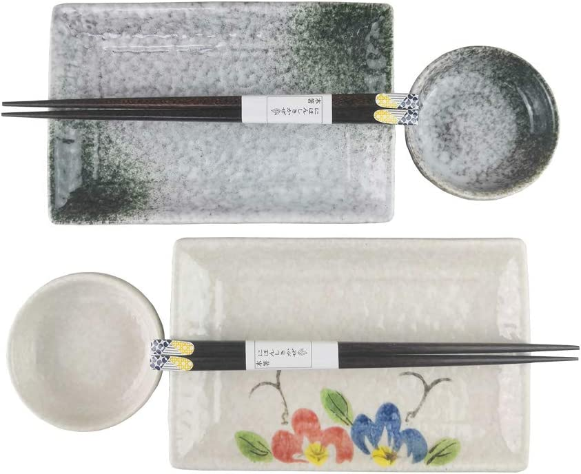 Japanese Style Sushi Plate Set For Two Consisting Pairs of Sushi Plates Sauce Bowls and Chopsticks Great Housewarming Gift For Sushi Enthusiasts (Turquoise)