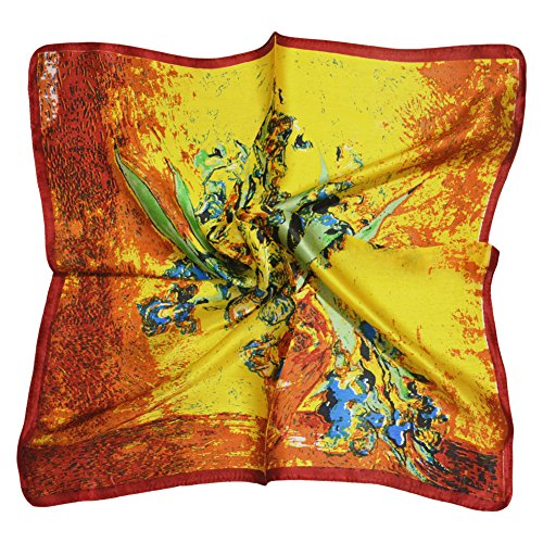 (TONY & CANDICE (TM) Women's Graphic Print 100% Silk Square Scarf 20*20 Inches (Van Gogh's Sunflower Print))