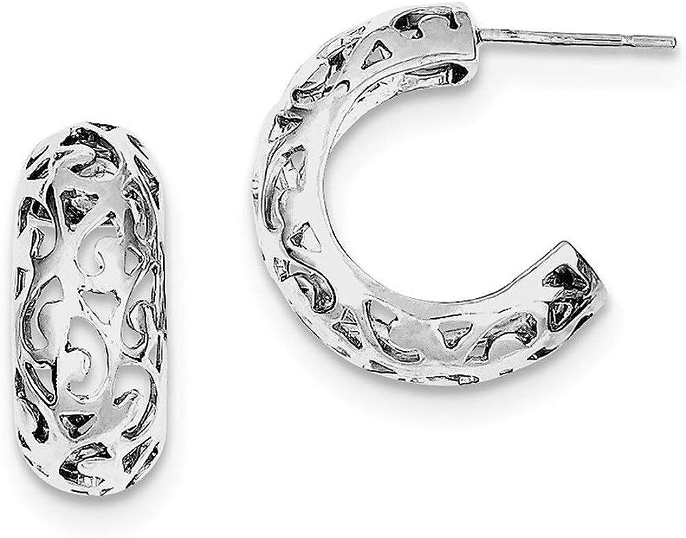 Lex /& Lu Sterling Silver w//Rhodium Filigree Post Earrings