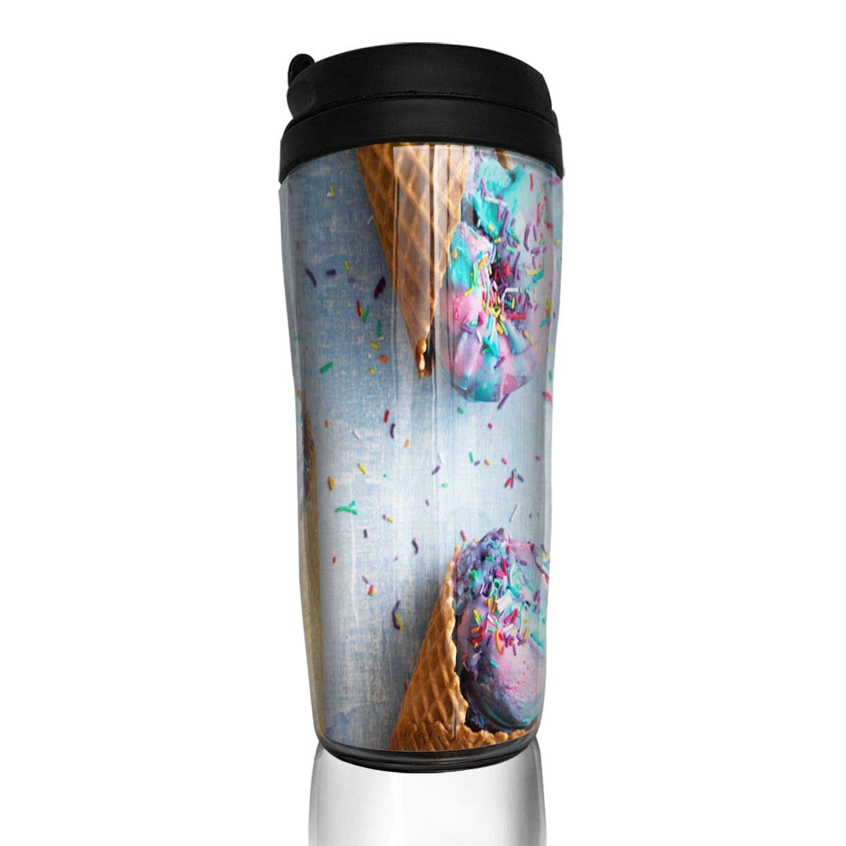 Coffee Cups Unicorn Ice-Cream Cones Recipe Travel Tumbler Insulated Leak Proof Drink Containers Holder Inspiring 12 Ounces