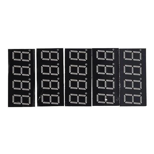 "TOOGOO(R) 5 Pcs Common Cathode 12 Pin 4 Bit 7 Segment 0.36"" Red LED Display Digital Tube"