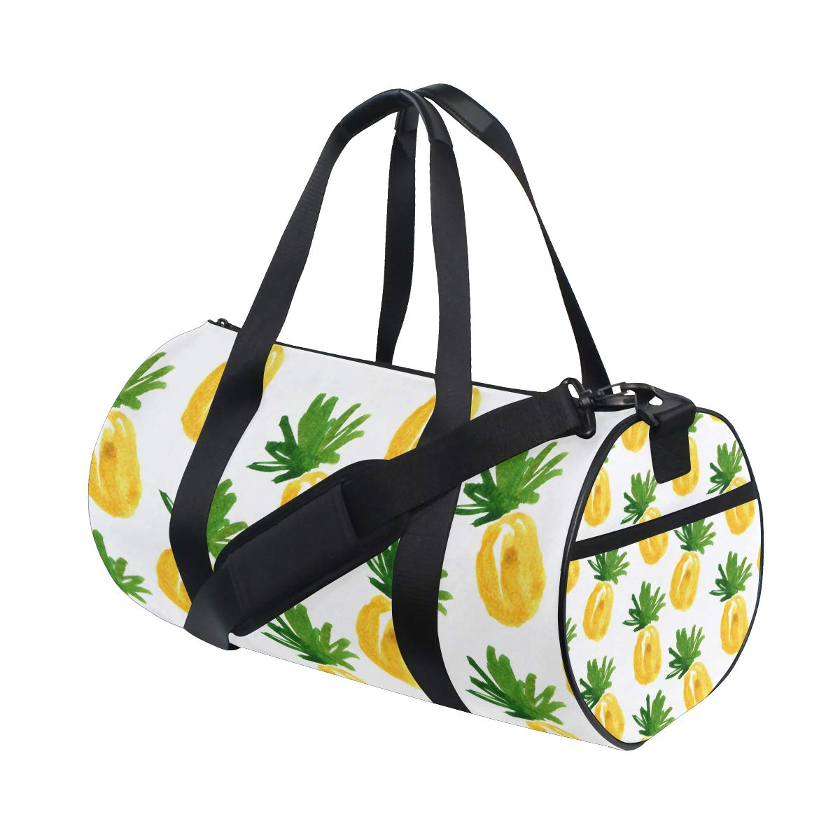 Pineapple Yoga Sports Gym Duffle Bags Tote Sling Travel Bag Patterned Canvas with Pocket and Zipper For Men Women Bag