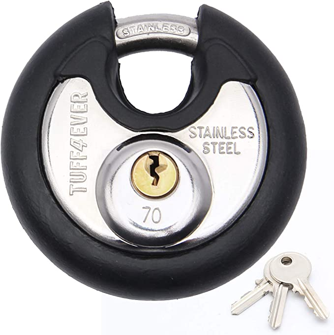 Tuff4ever 70mm Disc Padlock with Stainless Steel Shackle 2-3/4 Heavy Duty Round Outdoor Lock Black Rubber Bumper with 3 Keys - - Amazon.com