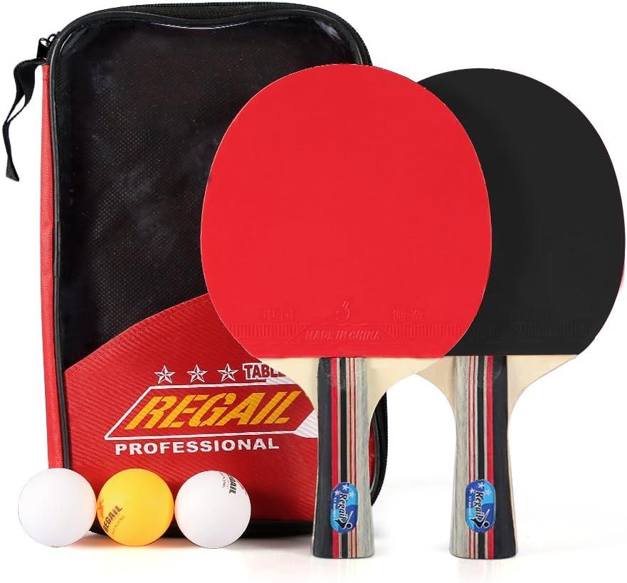Alomejor - Pala de tenis de mesa, 2 piezas de 7 capas de madera Ping Pong Paddles Set con bolas funda de transporte para jugadores de agarraderas