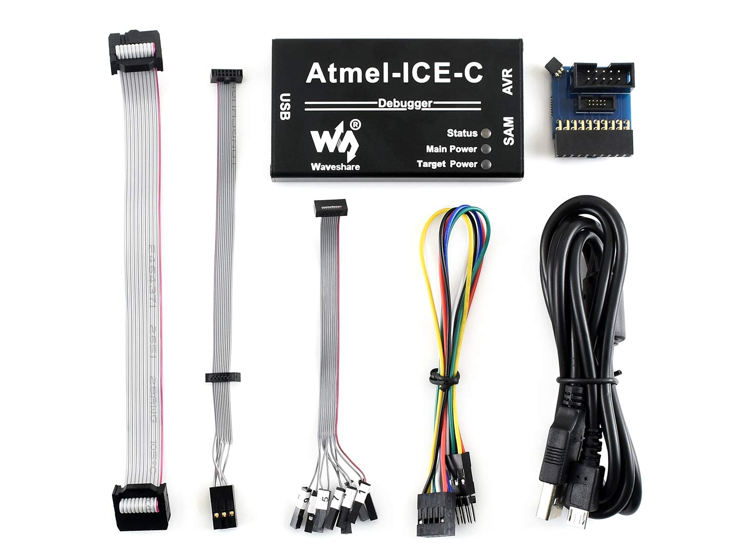 Waveshare Atmel-ICE-C Debugger Programmer Powerful Development Tool Atmel SAM and AVR Microcontrollers Original ATMEL-ICE-PCBA Inside Durable Aluminium Alloy Enclosure